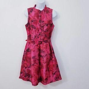J.Crew Floral Mock Neck Fit & Flare Dress w/ Belt
